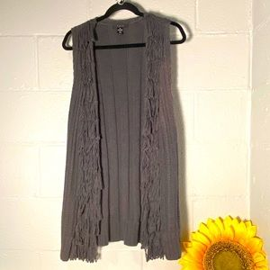 Style & Co Medium Gray Sweater Vest With Fringe
